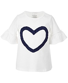 Toddler Girls Ruched Heart Ruffle Sleeve Cotton Top, Created for Macy's