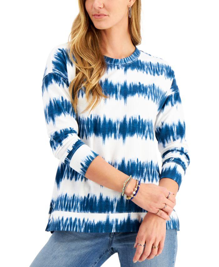 Style & Co Tie-Dyed Stripe Sweatshirt, Created for Macy's & Reviews - Tops - Women - Macy's