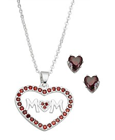 """Fine Silver Plate Cubic Zirconia MOM Heart Necklace and Stud Earring Set, 18"""" + 3"""" extender"""
