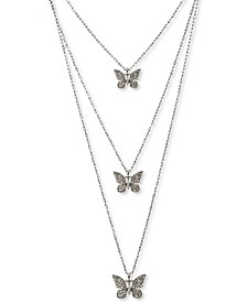 INC Silver-Tone 3-Pc. Set Crystal Butterfly Pendant Necklace, Created for Macy's