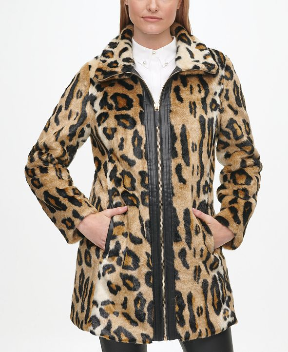 Karl Lagerfeld Paris Women's Leopard Faux Fur Coat