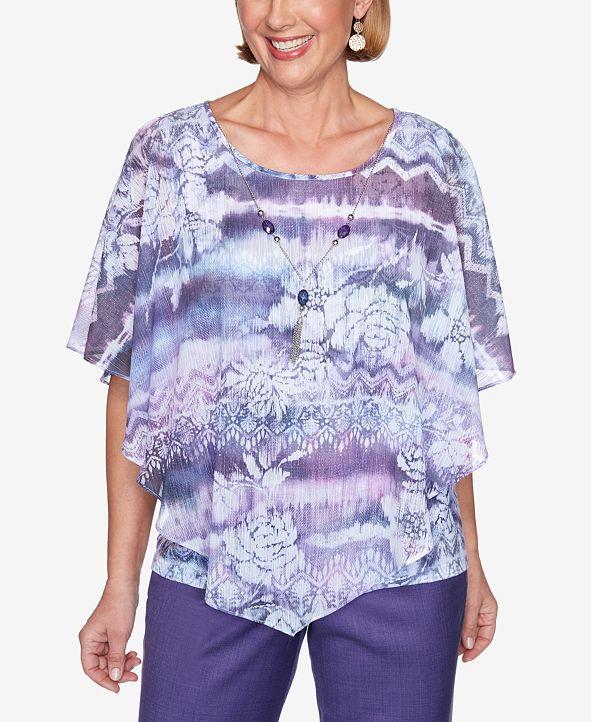 Alfred Dunner Women's Plus Size Wisteria Lane Ikat Floral Flutter Top