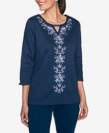 Women's Plus Size Wisteria Lane Center Floral Embroidery Top