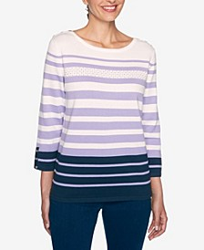 Women's Plus Size Wisteria Lane Striped Sweater