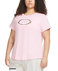 Plus Size Floral Cotton Logo T-Shirt