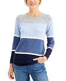 Petite Cotton Colorblocked Sweatshirt, Created for Macy's