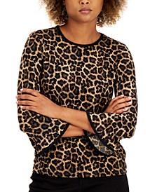 Petite Leopard-Print Flare-Sleeve Top