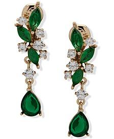 Gold-Tone Crystal Clip-On Linear Earrings