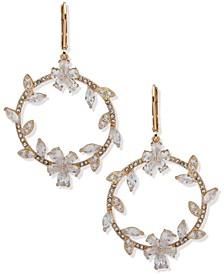 Gold-Tone Crystal Open Drop Earrings