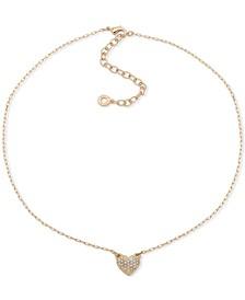 """Gold-Tone Pavé Heart Pendant Necklace, 16"""" + 3"""" extender"""