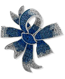 Silver-Tone Blue Stone Bow Boxed Pin