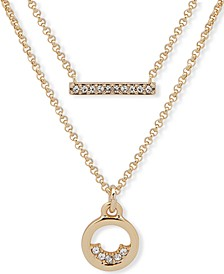 "Gold-Tone Pavé Bar & Circle Layered Pendant Necklace, 16"" + 3"" extender"