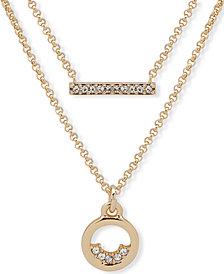 "DKNY Gold-Tone Pavé Bar & Circle Layered Pendant Necklace, 16"" + 3"" extender"