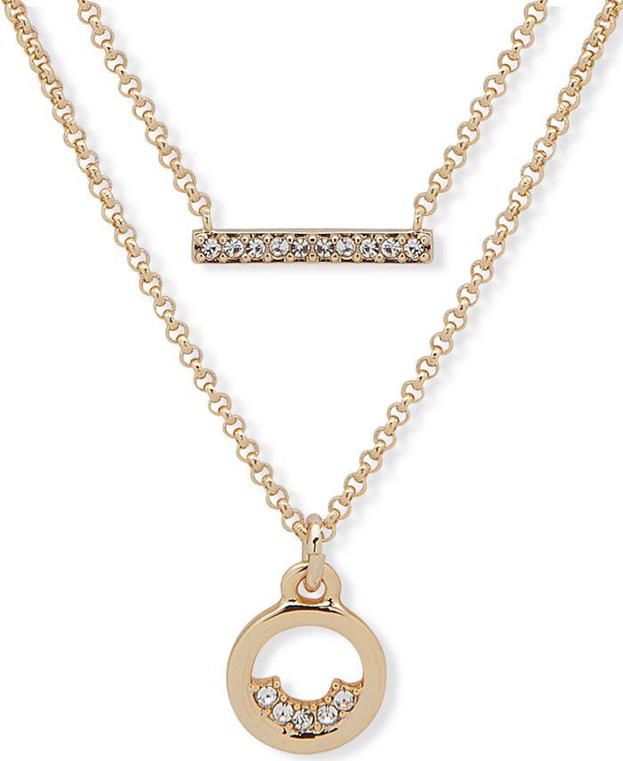 "DKNY - Gold-Tone Pavé Bar & Circle Layered Pendant Necklace, 16"" + 3"" extender"
