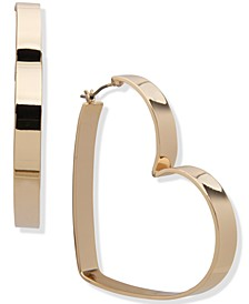 Gold-Tone Large Heart Hoop Earrings, 2.1""