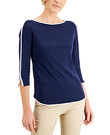 Petite Piped 3/4-Sleeve Boat-Neck Top, Created for Macy's