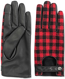 INC Buffalo-Plaid Driver Gloves, Created for Macy's