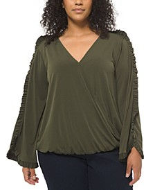 Plus Size Ruffled-Sleeve Wrap Top
