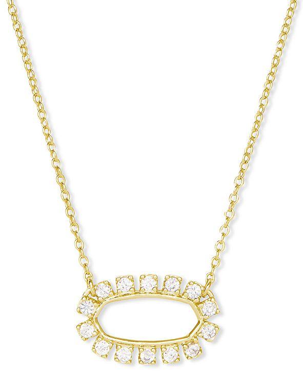 "Kendra Scott 14k Gold-Plated Cubic Zirconia Open Frame 18"" Adjustable Pendant Necklace"