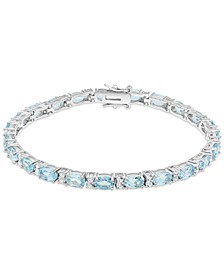 White Topaz (1-3/4 ct. t.w.) & Lab-Created Emerald (10 ct. t.w.) Link Bracelet in Sterling Silver (Also in Blue Topaz, Citrine, Lab-Created Opal, Lab-Created Blue Sapphire, Lab-Created Ruby, & Amethyst)