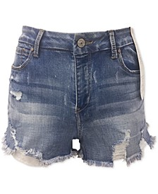Juniors' Curvy-Fit Ripped Denim Shorts