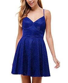 Juniors' Strappy-Back Glitter Dress