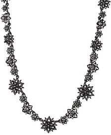 """Hematite-Tone Crystal & Imitation Pearl Cluster Collar Necklace, 16"""" + 3"""" extender"""