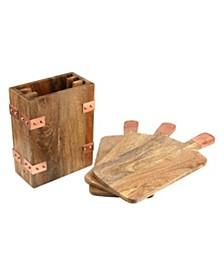 Set/3 Mango Wood Cheese Boards w/Case