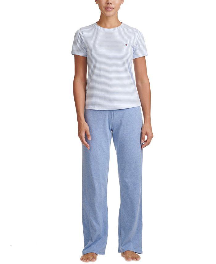 Tommy Hilfiger - Striped T-Shirt & Solid Pants Pajamas Set