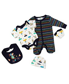 Baby Boys Animals In Cars 5 Piece Velour Layette Gift Set