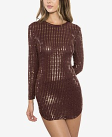 Juniors' Sequined Bodycon Dress & Face Mask