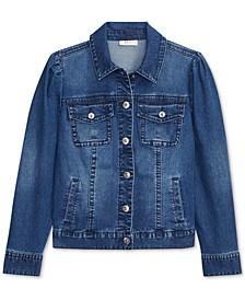 Puff-Shoulder Denim Jacket, Created for Macy's