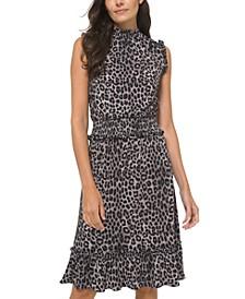 Animal-Print Smocked Ruffled-Hem Dress