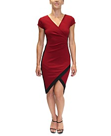 Juniors' Framed Faux-Wrap Midi Dress