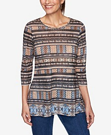 Plus Size Embellished Border Striped Top