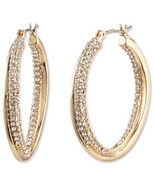 Gold-Tone Medium Pavé Twist Hoop Earrings, 1.4""