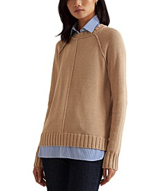Layered Cotton Sweater, Regular & Petite Sizes