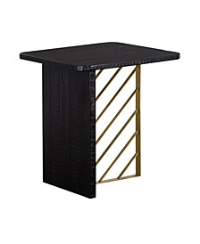 Monaco Wood Side Table with Brass Accent