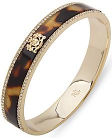 Gold-Tone Pavé & Crest Tortoise-Look Bangle Bracelet
