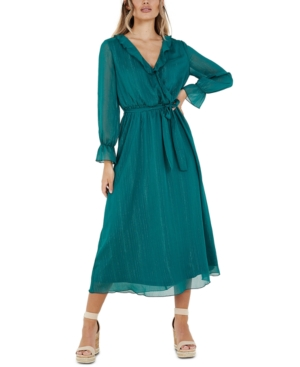 70s Dresses – Disco Dress, Hippie Dress, Wrap Dress Quiz Metallic-Stripe Maxi Dress $99.00 AT vintagedancer.com