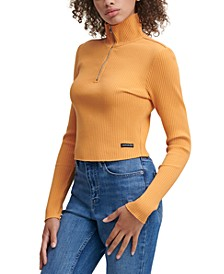 Zipped Turtleneck Ribbed-Knit Top