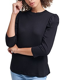 Puffed Sleeve Mock Neck Top