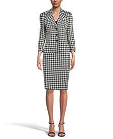 Houndstooth-Print 3/4-Sleeve Blazer & Pencil Skirt