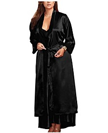 Women's Long Satin Robe with Lace Cuffs