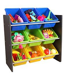 Vintiquewise 3-Tier Kids Toy Storage Organizer with 9 Plastic Bins