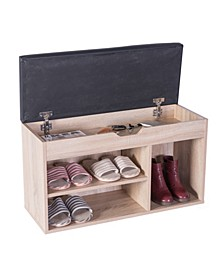 Vintiquewise Entryway Storage Shoe Rack with Top Seat, Oak