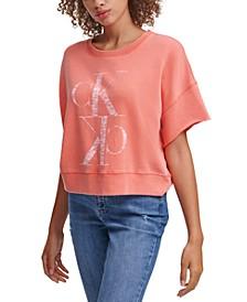 Distressed Logo Short Sleeve Sweatshirt