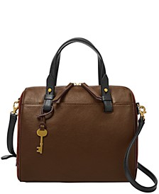 Women's Rachel Leather Satchel with Suede Gussets