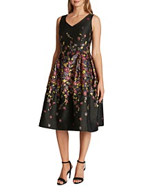 Printed Jacquard Fit & Flare Dress