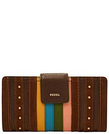 Women's Logan Stripe Tab Leather Clutch Wallet